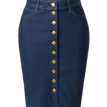 LE3NO Womens Stretchy High Waisted Button Down Denim Pencil Midi Skirt