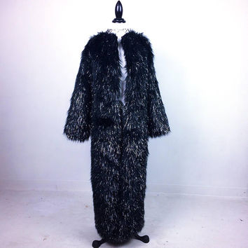 90's Black Tinsel Glitter Maxi Faux Fur Vintage Coat