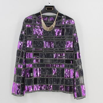 Women Contrast Color Sequin Lace Mesh Shirt Embroidery Beaded Long Sleeve Plaid Blouse Top Tunic