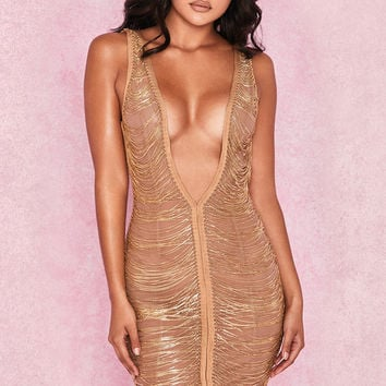 Clothing : Bodycon Dresses : 'Anouk' Gold Chain Drape Dress