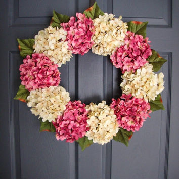 WREATH SALE EVENT Spring Pink & Cream Hydrangea Wreaths - Valentine's Day Wreath - Door Wreath - Outdoor Wreath - Housewarming Gift - Weddin