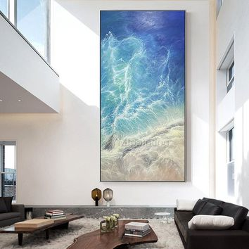 Sea Waves Abstract acrylic painting on canvas Original Seascape Painting extra large navy blue agate living room wall oil painting cuadros