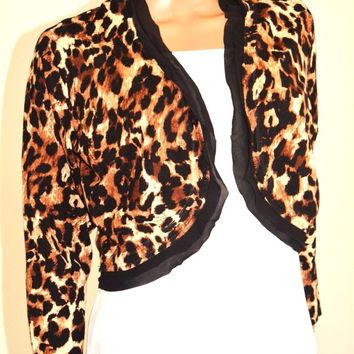 Thalia Sodi Womens Open Front Brown Animal Print Chiffon Trim Bolero Shrug Top L