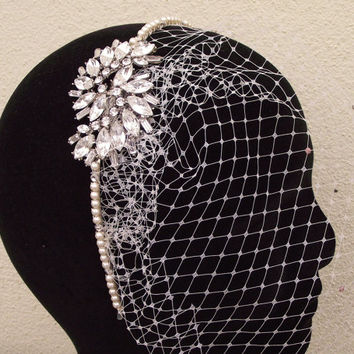 Birdcage Veil with Vintage Style Hairband, Rhinestones & Ivory Pearl Headband, Statement Wedding Headpiece, ABIGAIL
