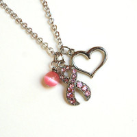 Breast Cancer Awareness Necklace - 50% of sale donated to charity in October