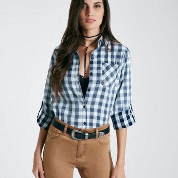 Checker Plaid One-Pocket Shirt | Wet Seal
