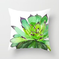 green succulent 2 Throw Pillow by Color And Color