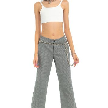 Vintage 90's Houndstooth Relaxed Flares - S