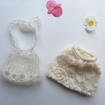 Hand knit lace top and skirt - creamy - Outfit for Liberty Lavender Dolls Unicorn or pegasus Mini Doll (Doll sold separately)