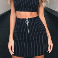 Alexandra Zip-Up Pinstripe Skirt
