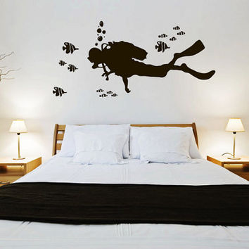 rta222 Diving Scuba Diver Deep Sea Ocean Fish Bathroom Living Room Bedroom Wall Decal Vinyl Sticker Decals Art Decor Design