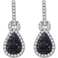 Black Diamond Fashion Earrings in 10k White Gold 1.8 ctw