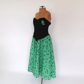 SIZE LARGE1980's does 1950s Green Black Polka Dot Prom Dress Strapless Tutu Dress Party Cocktail Cupcake Dress Bridesmaid Rocker 50s Prom
