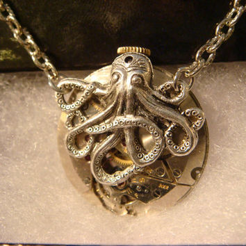 Steampunk Octopus Necklace on Vintage Watch Movement with Exposed Gears - Neo Victorian-Upcycled- (1087)