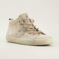 Leather Crown Distressed Mid-top Sneakers - Russo Capri - Farfetch.com