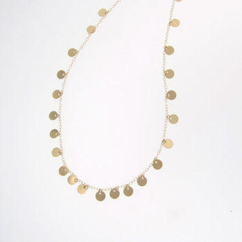 14K Yellow Gold Tiny Disc Necklace 18 Inches - Also Available in 14k White Gold - Gold Circle Drops