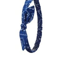 Blue Combo Bandanna Print Knotted Bow Head Wrap by Charlotte Russe