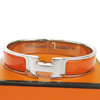Authentic HERMES H Logo Bracelet Bangle Plastic Silver Plated Accessory 37BF004