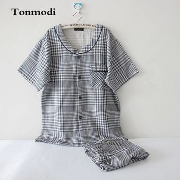 Summer Men's sleepwear short-sleeve 100% cotton gauze Pajamas Men lounge sleep shorts plaid pyjamas set