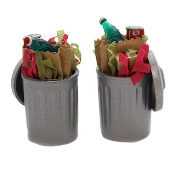 Department 56 Accessory CHRISTMAS TRASH CANS SET / 2 Snow Village Garbage Retired 52094