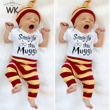 3PCS Newborn Unisex Clothes Set With white Top Short Sleeve  + stripe Pants + Hat