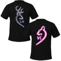 Browning Deer Love Couple Real Tree Camouflage T-Shirt