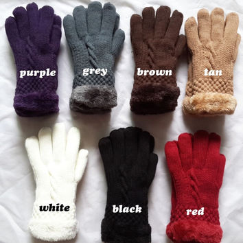 Women's Warm Winter Knit Gloves Mittens One Size Fur Lining = 1931652676