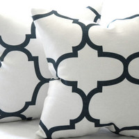 Decorative natural White and jet black quatrefoil trellis throw pillow,sofa pillow, toss pillow