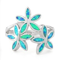 Sterling Silver Created Blue Opal Daisy Flower Ring - Size 9