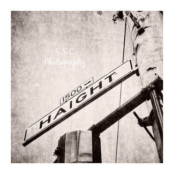 Haight Street Sign Photo. San Francisco. Black and White Photography. Street signs. Urban. Haight Ashbury. Iconic. Home Decor. Gray