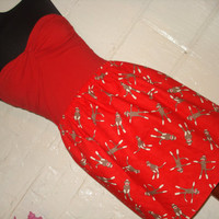 Red Sock Monkey Skirt  High Waisted Ladies by sweetcheeksstitches