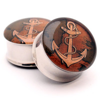Anchor Picture Plugs Style 2 gauges - 16g, 14g, 12g, 10g, 8g, 6g, 4g, 2g, 0g, 00g, 7/16, 1/2, 9/16, 5/8, 3/4, 7/8, 1 inch