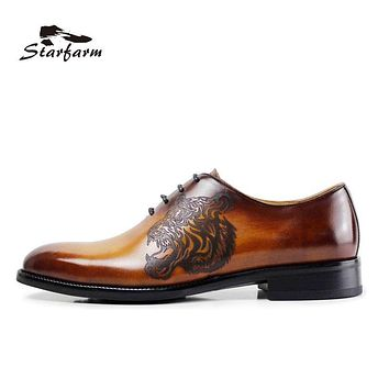 STARFARM Good Outsole Shoes Mens Hand Made Oxford Cow Genuine Leather Formal Dress Shoes Wipe Color Tiger Pattern Brown Custom