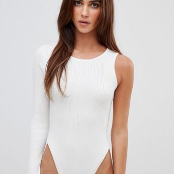 Missguided one shoulder cut out knitted bodysuit at asos.com