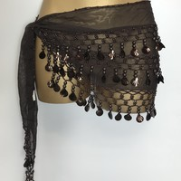 Brown Shell Sequin Shawl Top/Bottom