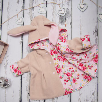 Bunny Jacket - Rabbit Coat - Animal Jacket - Hood Ears - Girls Jacket - Baby Jacket - Baby Gift - Girls Clothes - Animal Hoodie - Fleece
