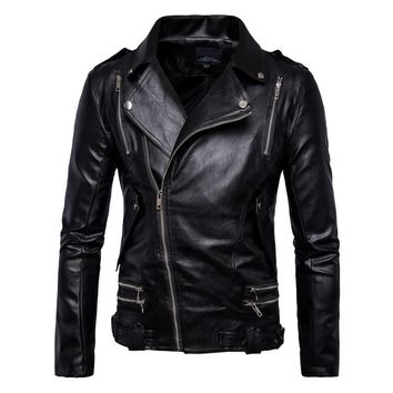 New Retro Vintage  Motorcycle Jacket Mens Spring Autumn PU Leather Sash Zipper Biker Punk Classic Turn Down Collar Size M-5XL