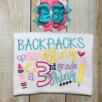 Back to School Shirt Backpacks and Bling ~~ Includes Hair bow!