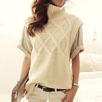 Women's turtleneck thick warm long knit sweaters pullovers female vest 2016 New fall winter ladies top woman sleeveless sweater