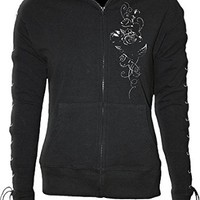 Spiral - Womens - ENTWINED - Laceup Full Zip Glitter Hoody Black