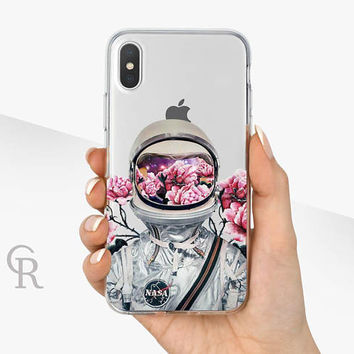 Astronaut iPhone X Clear Case - Clear Case - For iPhone 8 - iPhone X - iPhone 7 Plus - iPhone 6 - iPhone 6S - iPhone SE Transparent