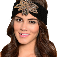 Gemma Crystal Beaded Floral Charm Knitted Headwrap