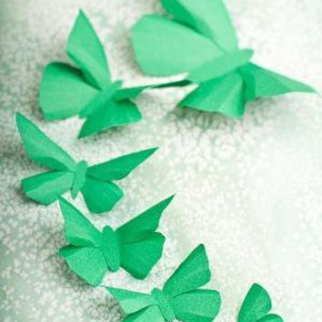 3D Wall Butterflies 10 Kelly Green Butterfly by hipandclavicle