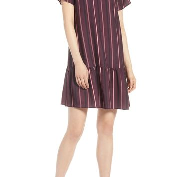 Halogen® Short Sleeve Ruffle Hem Dress (Regular & Petite) | Nordstrom
