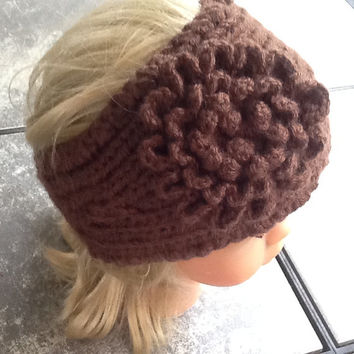 Chunky Knitted headband with crochet flower in chocolate brown  acrylic yarn, button closure, soft, warm, neutral color, stocking stuffer