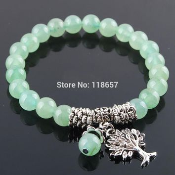 YOWOST Natural Aventurine Gem Stone Bracelet Mala Beads Tree Of Life Charms Meditation Ethnic For Women Jewelry IK3216