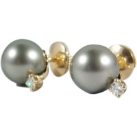 Tahitian Pearl Stud Earrings enhanced with 0.12 ctw diamonds set in 18K solid gold with 18K Alpa closure