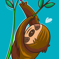 Sloth And Flower Art Print by Artistic Dyslexia