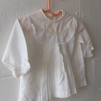 Antique 1900s White Cotton Lace Baby Dress Victorian Edwardian Little Girl's Newborn Embroidered Baptism Christening Gown Wedding Country