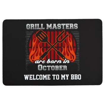 Grill Masters Are Born In October Personalized Floor Mat